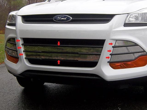 QAA PART  SG53360 fits ESCAPE 2013-2016 FORD (8 Pc: Stainless Steel Grille Overlay - Full Set w/ Adhesive Promoter, 4-door, SUV) SG53360
