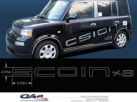 "QAA PART  SGR24180 fits XB 2004-2006 SCION (3 Pc: Stainless Steel Logo Package - ""SCION XB"", 4-door) SGR24180"