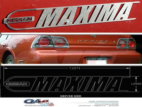 QAA PART  SGR24540 fits MAXIMA 2004-2008 NISSAN (2 Pc: Stainless Steel Logo Package, 4-door) SGR24540