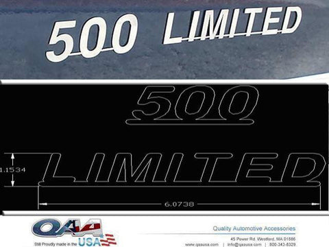 "QAA PART  SGR45370 fits FIVE HUNDRED UNIVERSAL FORD (2 Pc: Stainless Steel ""500 LIMITED"" Logo Package, 4-door) SGR45370"