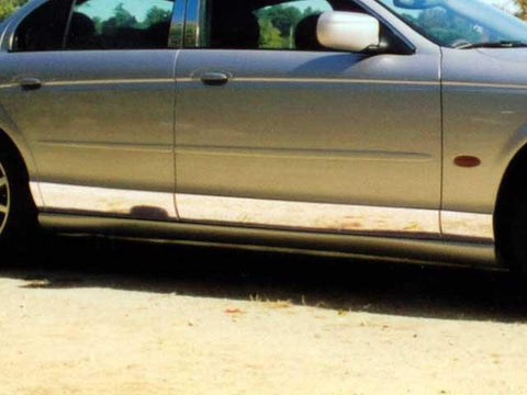 "QAA PART  TH20098 fits S-TYPE 2000-2008 JAGUAR (8 Pc: SS Rocker Panel Body Accent Trim, 4.5"" - 5.5"" wide - Lower Kit: Bottom of the door UP to the specified width , 4-door) TH20098"