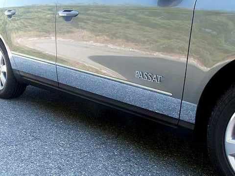 "QAA PART  TH26675 fits PASSAT 2006-2011 VOLKSWAGEN (8 Pc: SS Rocker Panel Body Accent Trim, 3.9"" - 5.6"" tapered width - Full Kit - spans from the bottom of the molding to the bottom of the door, 4-door) TH26675"