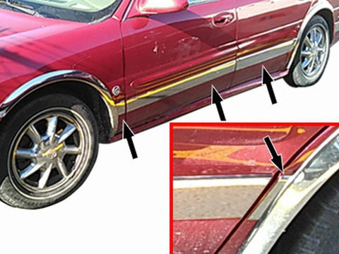 "QAA PART  TH40565 fits LESABRE 2000-2005 BUICK (8 Pc: SS Rocker Panel Body Accent Trim, 3.5"" wide - Upper Kit: Bottom of molding DOWN to the specified width , 4-door) TH40565"