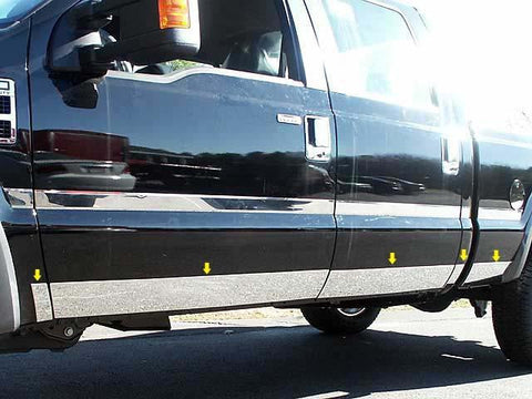 "QAA PART  TH48321 fits F-250 & F-350 SUPER DUTY 2008-2010 FORD (10 Pc: SS Rocker Panel Body Accent Trim, 5.5"" wide - Lower Kit: Bottom of the door UP to the specified width , 4-door, Extra Cab, Short Bed) TH48321"