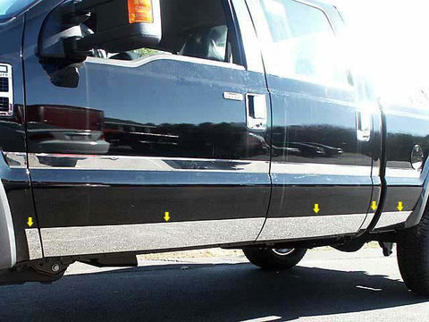 "QAA PART  TH51323 fits F-250 & F-350 SUPER DUTY 2011-2016 FORD (10 Pc: SS Rocker Panel Body Accent Trim, 5.5"" wide - Lower Kit: Bottom of door UP to specified width - between wheels, 4-door, Crew Cab, Short Bed) TH51323"
