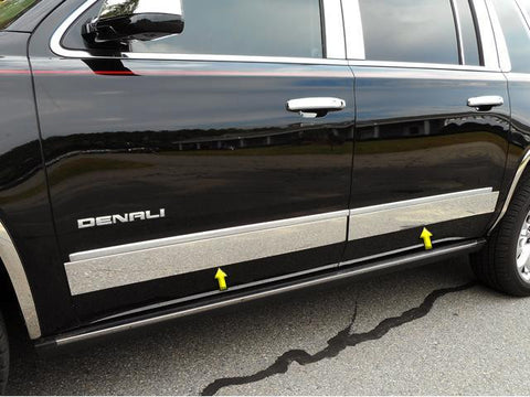 "QAA PART  TH55297 fits YUKON XL 2015-2018 GMC (4 Pc: SS Rocker Panel Body Accent Trim, 4.375"" wide  - Upper Kit: Bottom of molding DOWN to the specified width , 4-door, XL ONLY) TH55297"