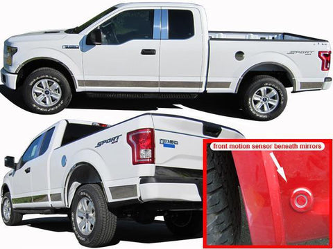 "QAA PART  TH55306 fits F-150 2015-2018 FORD (12 Pc: SS Rocker Panel Body Accent Trim, 4.5"" wide - Upper Kit: Bottom of molding DOWN to the specified width w/ cut out for lower side sensors, Crew Cab, 6.5 bed) TH55306"