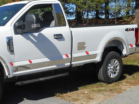 "QAA PART  TH57320 fits F-250/F-350 SUPER DUTY 2017-2018 FORD (10 Pc: SS Rocker Panel Body Accent Trim, 4.5"" wide - Upper Kit: Bottom of molding DOWN to the specified width. Regular Cab, 8' Bed) TH57320"