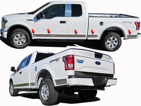 "QAA PART  TH55305 fits F-150 2015-2018 FORD (12 Pc: SS Rocker Panel Body Accent Trim, 4.5"" wide - Upper Kit: Bottom of molding DOWN to the specified width , Crew Cab, 6.5 bed) TH55305"