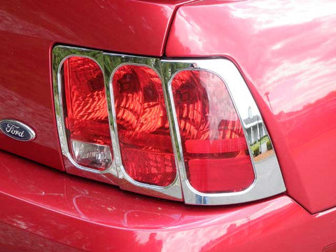 QAA PART TL39351 Fits MUSTANG 1999-2004 FORD (2 Pc: ABS Plastic Taillight Bezels w/ Chrome Overlay, 2-door) TL39351