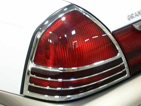 GRAND MARQUIS 2003-2010 MERCURY (2 Pc: ABS Plastic Taillight Bezels w/ Chrome Overlay, 4-door, GS, LS) TL43480