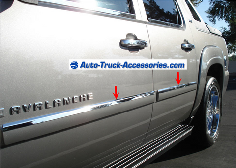 2007-2014 Chevy Avalanche-Silverado-Tahoe 4 Door stylish mirror-finish door molding trim - Auto-Truck-Accessories