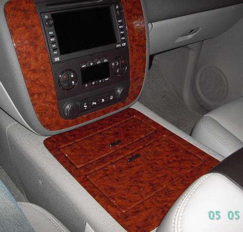 Wood Grain Floor Console For 2007 2014 Chevy Avalanche