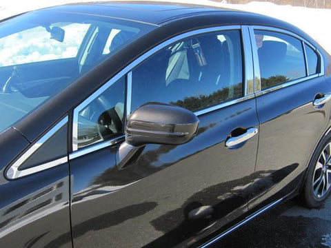 QAA PART  WP12214 fits CIVIC 2012-2015 HONDA (20 Pc: Stainless Steel Window Trim Package, 4-door) WP12214