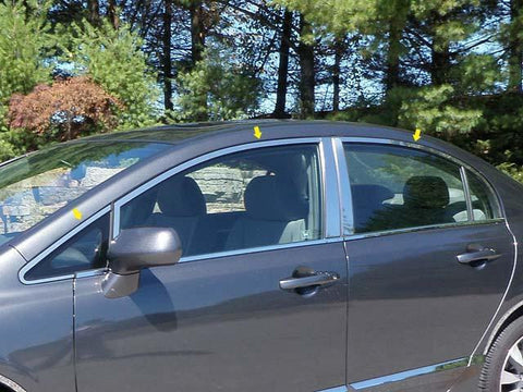 QAA PART  WP26215 fits CIVIC 2006-2011 HONDA (6 Pc: Stainless Steel Window Trim Package NO pillar trim or window sill trim, 4-door) WP26215