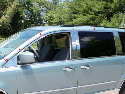 QAA PART  WP48896 fits GRAND CARAVAN 2008-2018 DODGE (8 Pc: Stainless Steel Window Trim Package NO pillar trim , 4-door) WP48896