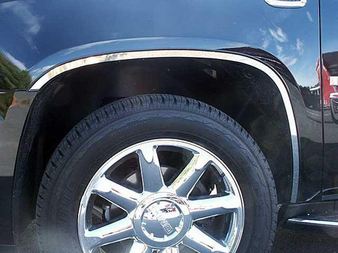 QAA PART  WQ47295 fits ESCALADE 2007-2014 CADILLAC (6 Pc: Stainless Steel Wheel Well Accent Trim w/ 3M Adhesive & Black Rubber Gasket, 4-door, SUV) WQ47295