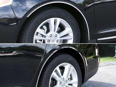 QAA PART  WQ49626 fits MKS 2009-2012 LINCOLN (8 Pc: Stainless Steel Wheel Well Accent Trim w/ 3M Adhesive & Black Rubber Gasket - full length, 4-door) WQ49626