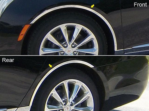 QAA PART  WQ53245 fits XTS 2013-2018 CADILLAC (4 Pc: Stainless Steel Wheel Well Accent Trim w/ 3M Adhesive & Black Rubber Gasket, 4-door) WQ53245