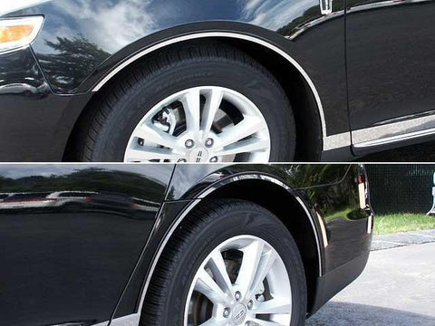 QAA PART  WQ53625 fits MKS 2013-2016 LINCOLN (8 Pc: Stainless Steel Wheel Well Accent Trim w/ 3M Adhesive & Black Rubber Gasket - cut to the rocker, 4-door) WQ53625