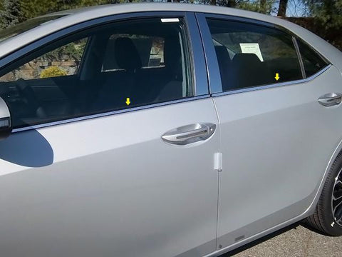 "QAA PART  WS14112 fits COROLLA 2014-2018 TOYOTA (4 Pc: Stainless Steel Window Sill Trim - 0.375"" wide, 4-door) WS14112"