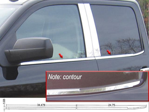 QAA PART  WS54185 fits SILVERADO 2014-2018 CHEVROLET (4 Pc Stainless Steel Window Sill Trim, 4-door, Double Cab, Please NOTE contour shown in image) WS54185