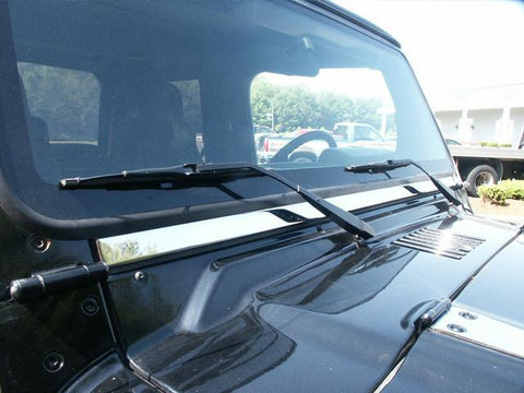 "QAA PART  WT45090 fits WRANGLER 1997-2006 JEEP (1 Pc: Stainless Steel Windshield Accent Trim - 1.125"" wide, 2-door) WT45090"
