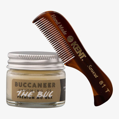 Moustache Wax & Moustache Comb Set
