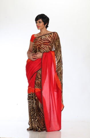 Red saree with Leopard print Embroidery