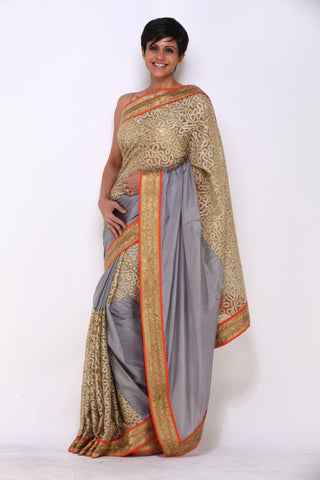 Grey Saree With Gold and Orange Border