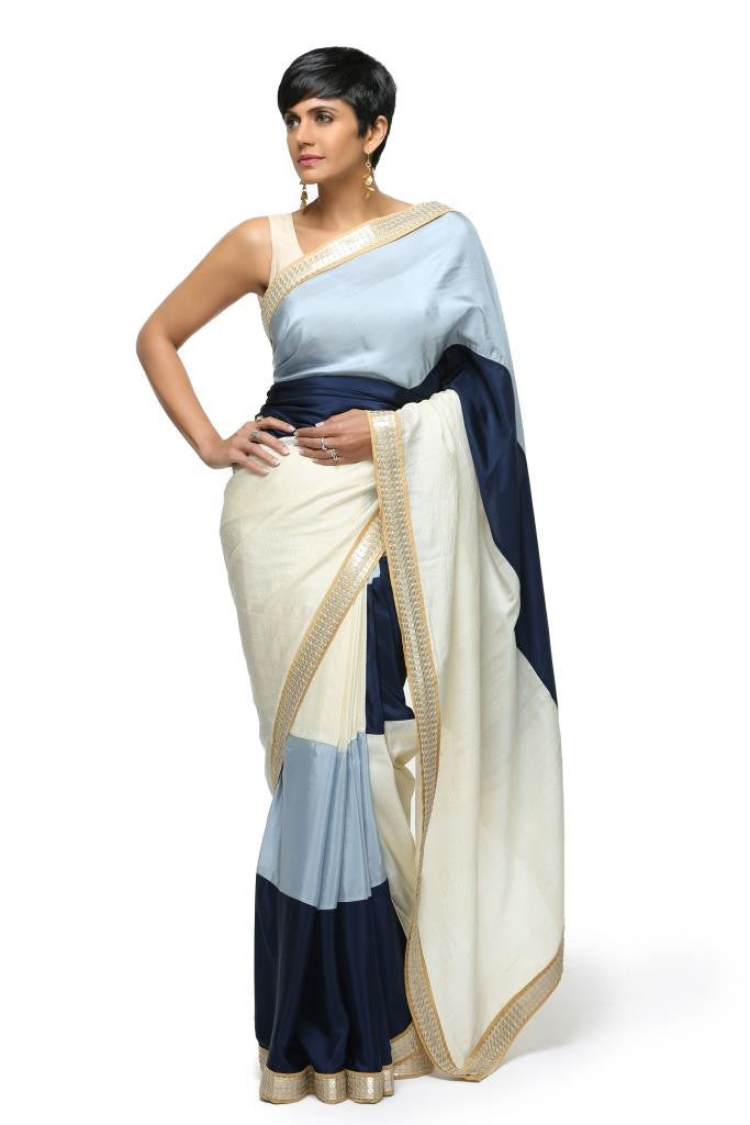 Off White & Blue Stripe Sari