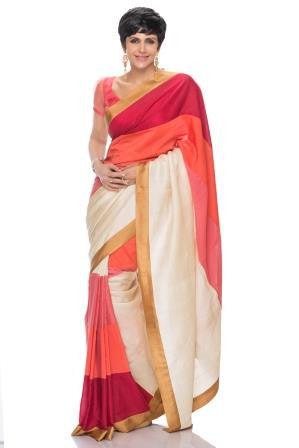 White & Pink Peach & Maron Stripe Saree