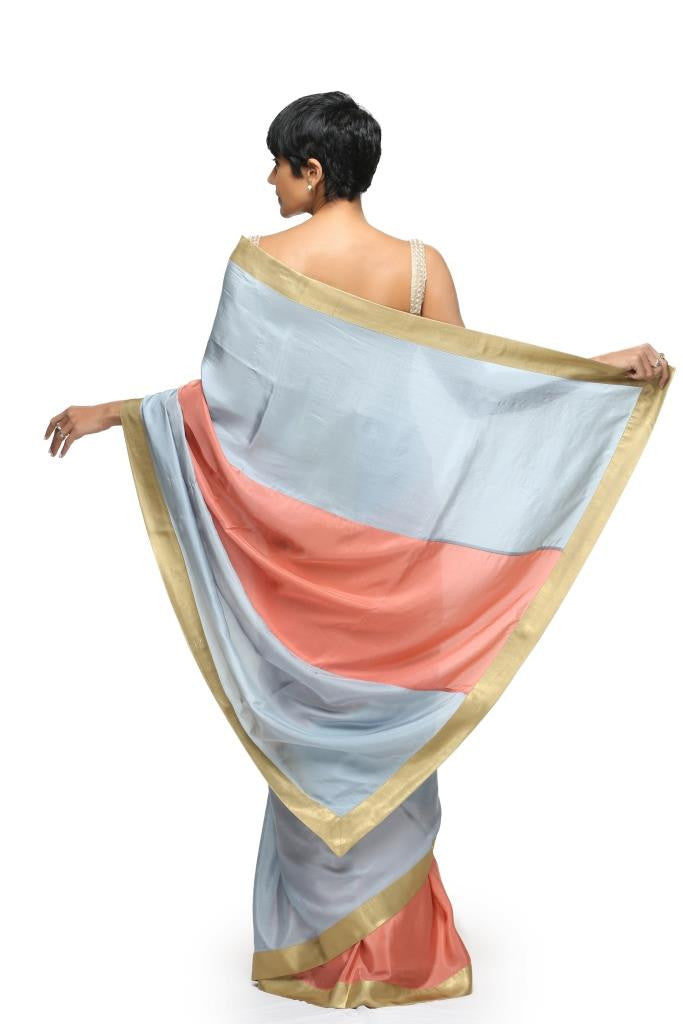 Salmon Pink & Light Blue Silk Sari