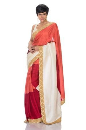 Tri-Color saree with Geometric Border