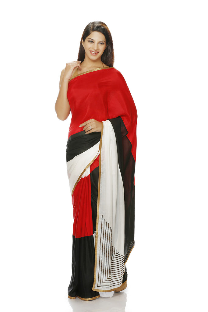 Red Black and white silk saree with embroidery