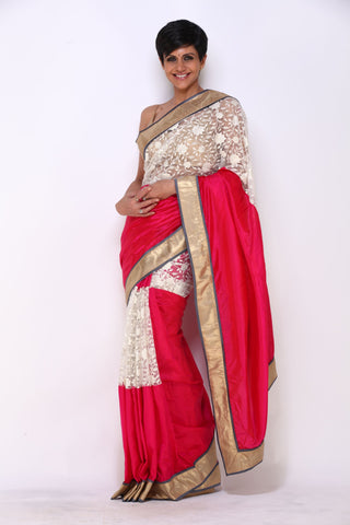 Pink and White Flower Net Saree with Gold Border