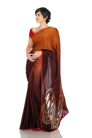 Brown shaded saree with Cut work wings on pallu