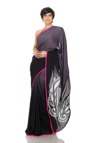 Black shaded saree with Cut work wings on pallu