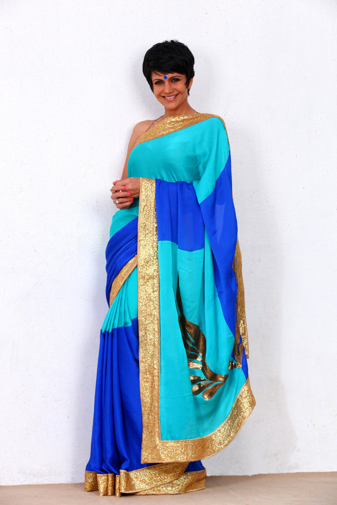 Blue Saree with Sequin wings on the Pallu