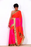 Pink Saree with Sequin wings on the Pallu