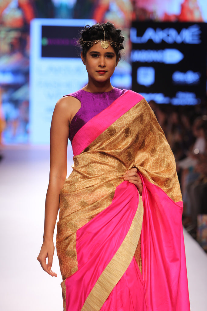 Pink and beige saree with zari buttis