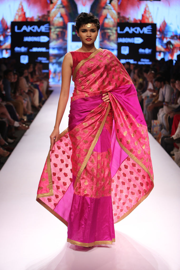 Pink and purple saree with buttis