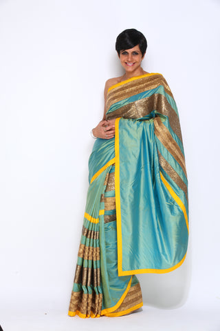 Blue Silk Sari with Sequins stripes