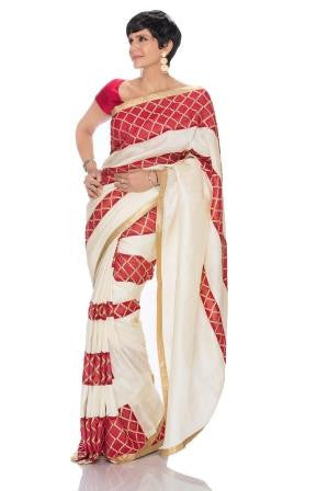 Off White Saree with Geometric Stripes
