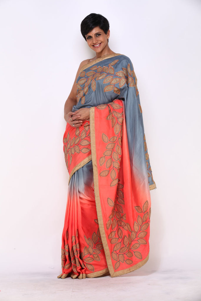 Grey to Orange Shaded Saree with Applique Leaf Work