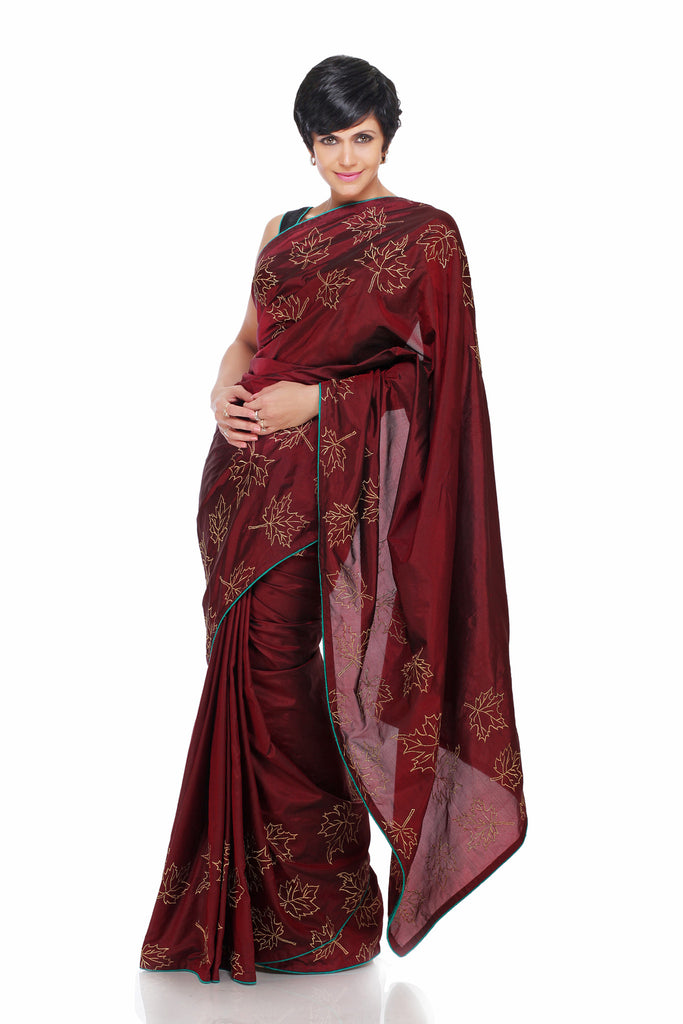 Maroon Saree with embroidered Maple leaves