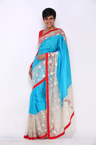 Blue Saree with Flower Work Net