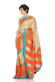 beige silk saree with gold treasures