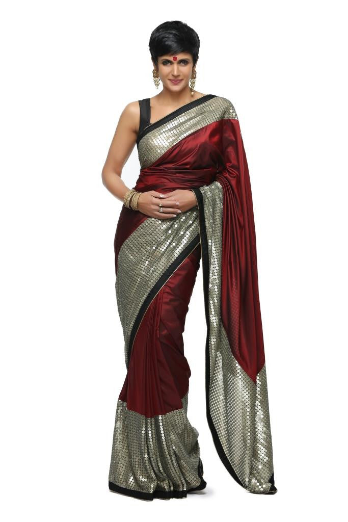 Maroon Silk Sari with Sequins Border