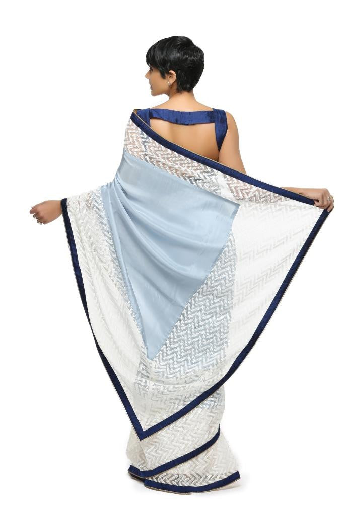 Light Blue Silk Sari with White thread work